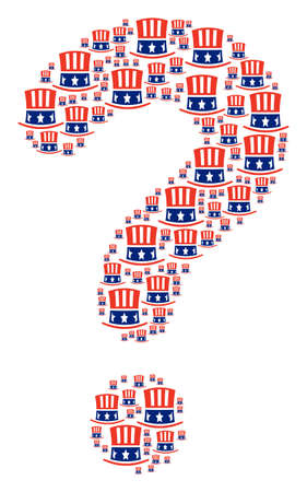 FAQ mosaic created with Uncle Sam hat items. Vector Uncle Sam hat icons are composed into problem mosaic. Illusztráció