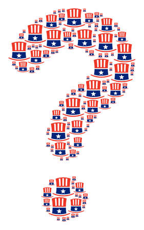 Answer shape constructed from Uncle Sam hat pictograms. Vector Uncle Sam hat icons are formed into secret combination.