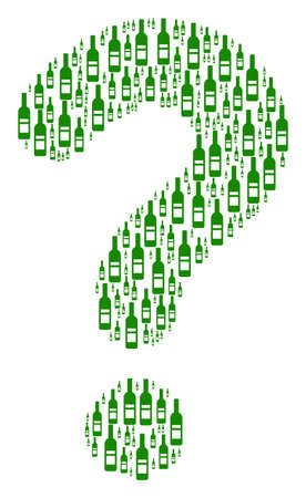 Answer collage created with wine bottle icons. Vector wine bottle icons are arranged into SQL figure.