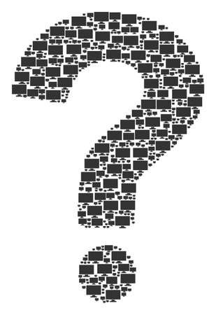 FAQ shape constructed with computer display pictograms. Vector computer display icons are united into unknown mosaic. Illustration