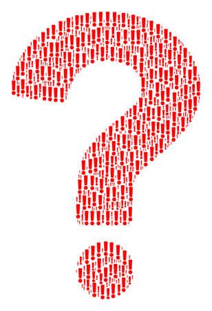 Answer composition composed of exclamation sign components. Vector exclamation sign icons are formed into question composition.