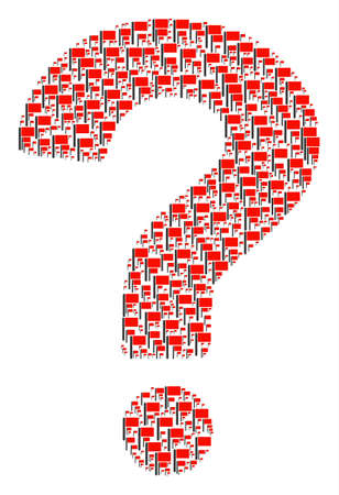Question collage created from flag objects. Vector flag icons are organized into question mark mosaic.