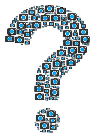 FAQ figure made of photo camera components. Vector photo camera icons are combined into prompt collage. Illustration