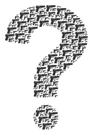Question mosaic constructed from pistol gun pictograms. Vector pistol gun icons are organized into research combination.