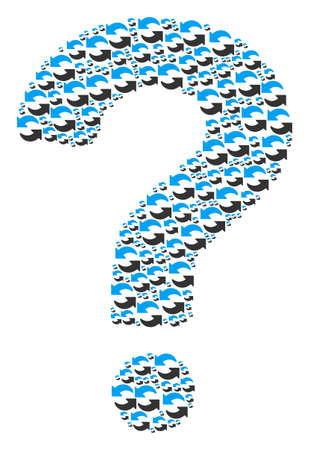 Question mark collage created from refresh elements. Vector refresh icons are combined into advice composition.