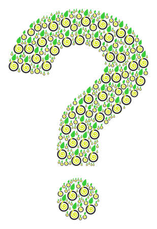 FAQ shape created with seed sprout icons. Vector seed sprout icons are combined into know how figure.