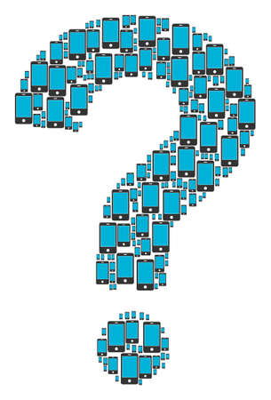 Query collage constructed of smartphone icons. Vector smartphone icons are formed into know how composition. Illustration