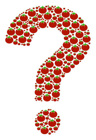 Question mark figure composed from tomato vegetable icons. Vector tomato vegetable icons are combined into prompt figure.