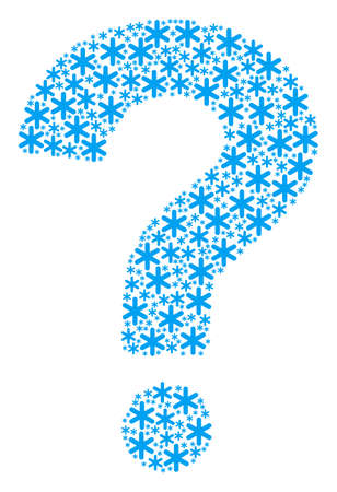 Question mosaic constructed of snowflake icons. Vector snowflake icons are organized into ask figure.
