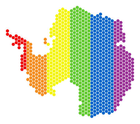 A dotted LGBT Antarctica map for lesbians, gays, bisexuals, and transgenders. Colorful vector mosaic of Antarctica map constructed of spheric points.