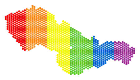 A dotted LGBT Czechoslovakia map for lesbians, gays, bisexuals, and transgenders. Rainbow vector mosaic of Czechoslovakia map designed of round elements.