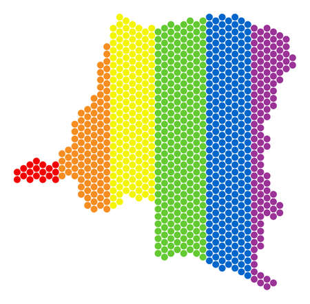 A dotted LGBT Democratic Republic of the Congo map for lesbians, gays, bisexuals, and transgenders. Multicolored vector collage of Democratic Republic of the Congo map made with spheric dots.