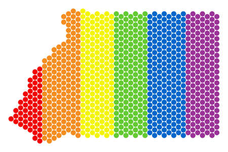 A dotted LGBT Equatorial Guinea map for lesbians, gays, bisexuals, and transgenders. Rainbow vector collage of Equatorial Guinea map composed of round pixels.