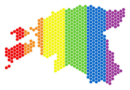 A dotted LGBT Estonia map for lesbians, gays, bisexuals, and transgenders. Colored vector concept of Estonia map composed with round dots.