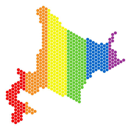 A dotted LGBT Hokkaido Island map for lesbians, gays, bisexuals, and transgenders. Color vector collage of Hokkaido Island map made with circle elements. Illustration