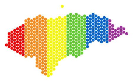 A dotted LGBT Honduras map for lesbians, gays, bisexuals, and transgenders. Colored vector composition of Honduras map constructed with spheric pixels. Illustration