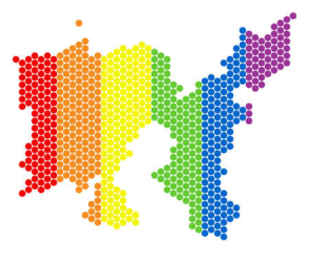 A dotted LGBT Limnos Greek Island map for lesbians, gays, bisexuals, and transgenders. Color vector collage of Limnos Greek Island map formed of round dots. Illustration