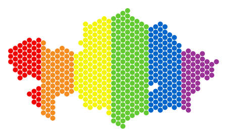 A dotted LGBT Kazakhstan map for lesbians, gays, bisexuals, and transgenders. Colored vector composition of Kazakhstan map combined of spheric points.