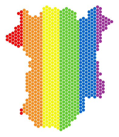 A dotted LGBT Chechnya map for lesbians, gays, bisexuals, and transgenders. Colorful vector mosaic of Chechnya map formed of round dots. Gay marriage conceptual illustration consists of small spheres. 版權商用圖片 - 102545209