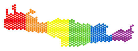 A dotted LGBT Crete Island map for lesbians, gays, bisexuals, and transgenders. Color vector collage of Crete Island map designed of round points.