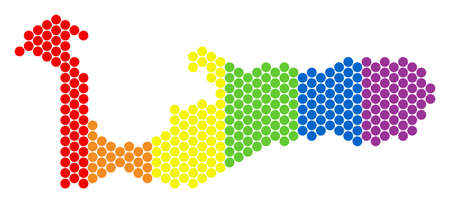 A dotted LGBT Grand Cayman Island map for lesbians, gays, bisexuals, and transgenders. Color vector mosaic of Grand Cayman Island map designed with circle pixels.