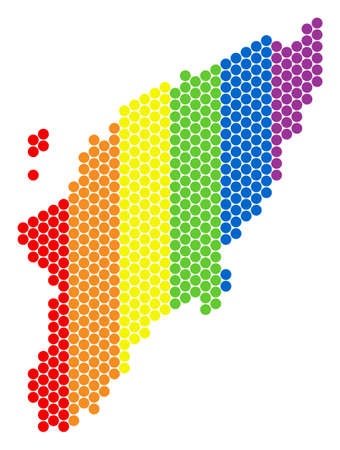 A dotted LGBT Greek Rhodes Island map for lesbians, gays, bisexuals, and transgenders. Colored vector composition of Greek Rhodes Island map combined of round spots. Vettoriali