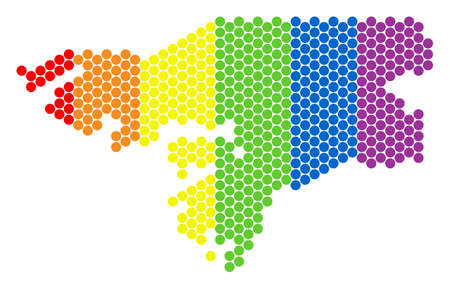 A dotted LGBT Guinea-Bissau map for lesbians, gays, bisexuals, and transgenders. Rainbow vector concept of Guinea-Bissau map done of spheric pixels.