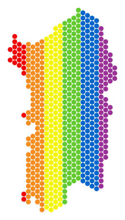 A dotted LGBT Italian Sardinia Island map for lesbians, gays, bisexuals, and transgenders. Multicolored vector composition of Italian Sardinia Island map created of round pixels.