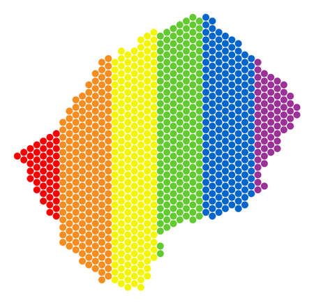 A dotted LGBT Lesotho map for lesbians, gays, bisexuals, and transgenders. Colored vector collage of Lesotho map combined of circle spots.