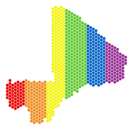 A dotted LGBT Mali map for lesbians, gays, bisexuals, and transgenders. Multicolored vector collage of Mali map created of circle pixels.
