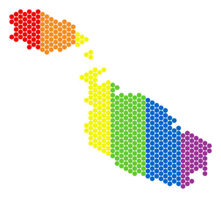 A dotted LGBT Malta Island map for lesbians, gays, bisexuals, and transgenders. Color vector mosaic of Malta Island map created with spheric dots. Illustration