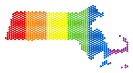 A dotted LGBT Massachusetts State map for lesbians, gays, bisexuals, and transgenders. Colored vector concept of Massachusetts State map created with spheric pixels.