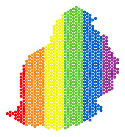 A dotted LGBT Mauritius Island map for lesbians, gays, bisexuals, and transgenders. Color vector composition of Mauritius Island map created of spheric items. Illustration