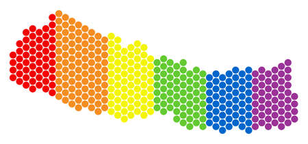 A dotted LGBT Nepal map for lesbians, gays, bisexuals, and transgenders. Colorful vector mosaic of Nepal map made of circle pixels. Same sex marriage abstract illustration contains small spheres.