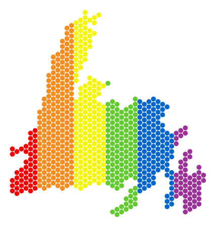 A dotted LGBT Newfoundland Island map for lesbians, gays, bisexuals, and transgenders. Colored vector mosaic of Newfoundland Island map created of circle pixels. Illustration