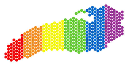 A dotted LGBT Ontario Lake map for lesbians, gays, bisexuals, and transgenders. Rainbow vector composition of Ontario Lake map designed with circle items.