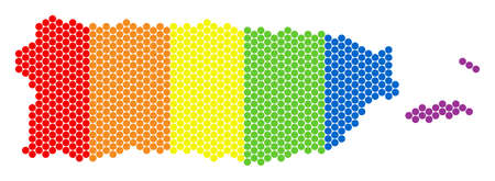 A dotted LGBT Puerto Rico map for lesbians, gays, bisexuals, and transgenders. Colored vector concept of Puerto Rico map composed with spheric spots. Illustration