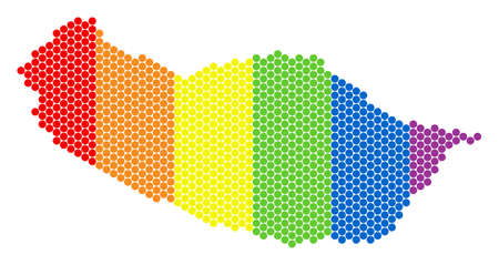 A dotted LGBT Portugal Madeira Island map for lesbians, gays, bisexuals, and transgenders. Rainbow vector composition of Portugal Madeira Island map done of spheric points. Banco de Imagens - 102545306