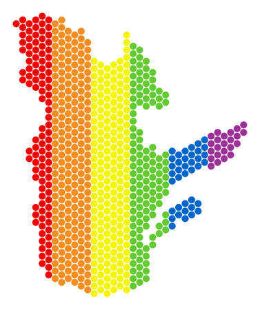 A dotted LGBT Quebec Province map for lesbians, gays, bisexuals, and transgenders. Multicolored vector mosaic of Quebec Province map composed with spheric points.  イラスト・ベクター素材