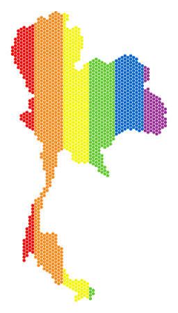 A dotted LGBT Thailand map for lesbians, gays, bisexuals, and transgenders. Rainbow vector composition of Thailand map done with circle points.
