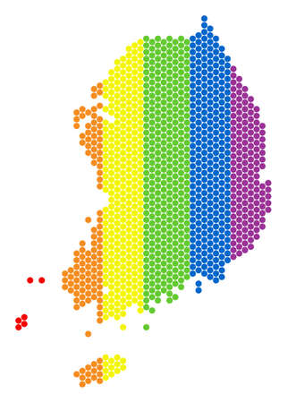 A dotted LGBT South Korea map for lesbians, gays, bisexuals, and transgenders. Rainbow vector concept of South Korea map formed with circle spots.