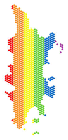 A dotted LGBT Phuket map for lesbians, gays, bisexuals, and transgenders. Colored vector composition of Phuket map designed of round dots. Фото со стока - 102547368