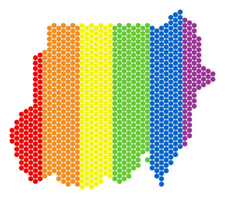 A dotted LGBT Sudan map for lesbians, gays, bisexuals, and transgenders. Multicolored vector mosaic of Sudan map formed with round elements.