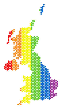 A dotted LGBT United Kingdom map for lesbians, gays, bisexuals, and transgenders. Rainbow vector collage of United Kingdom map made of circle dots.