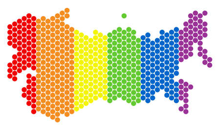 A dotted LGBT USSR map for lesbians, gays, bisexuals, and transgenders. Colored vector concept of USSR map composed of circle pixels. Gay marriage conceptual illustration consists of small circles.