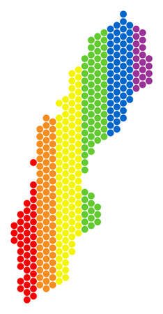 A dotted LGBT Sweden map for lesbians, gays, bisexuals, and transgenders. Rainbow vector collage of Sweden map made of round pixels. Bisexual marriage concept illustration build from small circles.