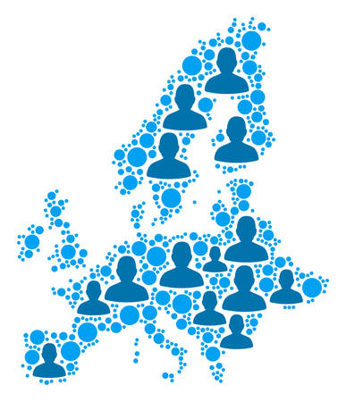 Population European Union map. Demography vector mosaic of European Union map made of random person items and round elements. Abstract social scheme of national audience cartography.
