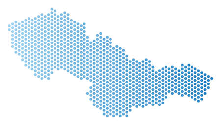 Hex Tile Czechoslovakia map. Vector geographic plan in light blue color with horizontal gradient. Abstract Czechoslovakia map concept is composed from hexagonal pixels.