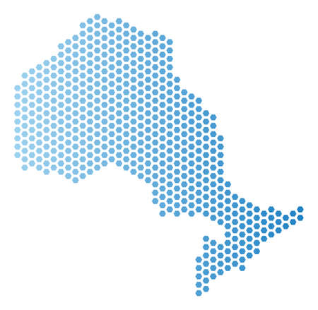 Hex Tile Ontario Province map. Vector geographic scheme in light blue color with horizontal gradient. Abstract Ontario Province map composition is created from hexagonal spots. 일러스트