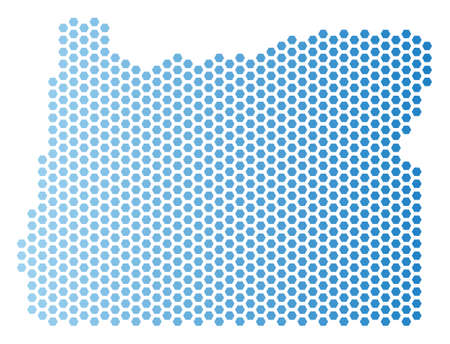 Hexagonal Oregon State map. Vector territory scheme in light blue color with horizontal gradient. Abstract Oregon State map concept is composed from hex tile elements. Illustration